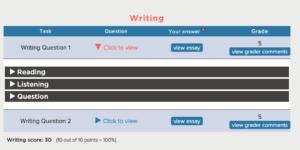 Writing Score Grading Report