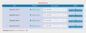 Speaking Score Grading Report