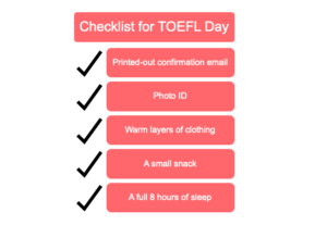 Checklist of Essential Items for TOEFL